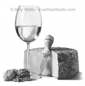 drawing-still-life-wine-cheese-amy-watts